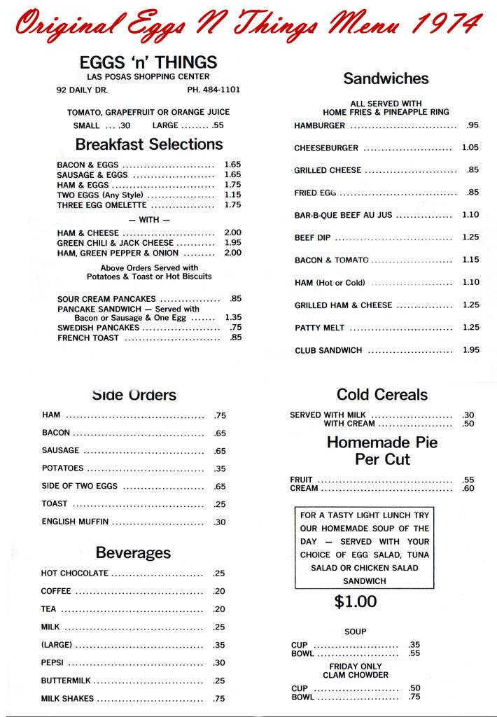 Orignal Egg N Things menu 1974